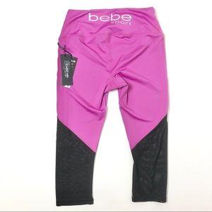 NWT BEBE Sport Yoga Capri Size Small Pink Crop